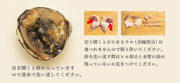 貝を開くと砂が入っているので、流水で洗い流してください。切り開くと中にあるウロは食べられませんので取り除いてください。砂を洗い流す際はヒモ部分と水簡易砂が残っていないか気をつけてください。