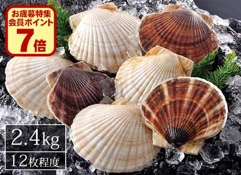 北海道産殻付きほたて(2.4kg)12枚程度