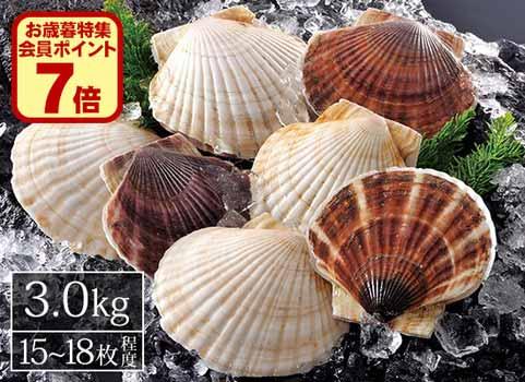 北海道産殻付きほたて(3.0kg)15~18枚程度