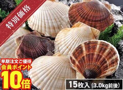 北海道産 殻付ほたて(15枚)3.0kg前後