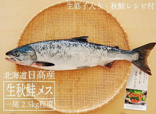 【時化の為、販売一時見合わせ】日高産 生秋鮭(メス・2.5kg)