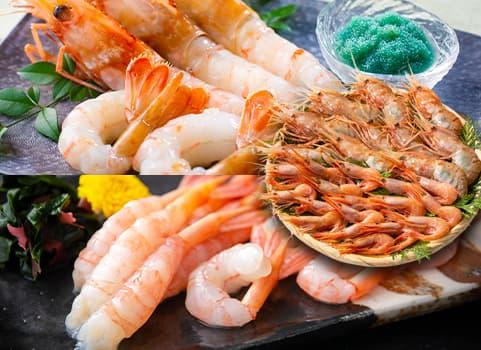 """特大ぼたんえび・甘えび""""食べ比べ""""セット 700g(刺身用)"""