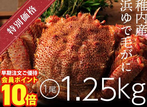 稚内産浜ゆで毛がに1.25kg×1尾(ボイル冷凍)