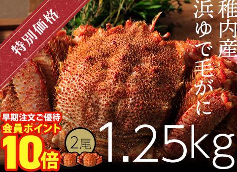 浜ゆで毛がに 1.25kg×2尾(北海道 稚内産・ボイル冷凍)