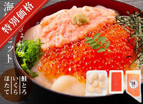 【〆】北海道ぎょれん 海鮮丼3種セット(鮭とろ・いくら・ほたて)