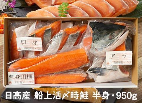 時鮭「船上活〆」食べづくしセット 半身950g(北海道 日高産)
