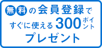 無料の会員登録で300ポイントプレゼント